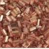 Tubes Square Beads 7X3.4mm Square Hole Pink Luster
